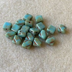 Silky Beads - Green-Turquoise - 20st