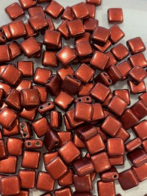 Tile Bead 6mm Saturated Metallic Merlot -07B10