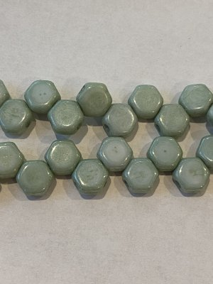 Honeycomb Bead 6mm Green Luster 14457