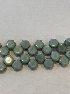 Honeycomb Bead 6mm Chalk Green Luster 14459