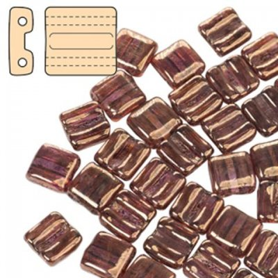 Fixer Beads Horizontal 8x7mm Crystal Senegal Brown Purple 15695