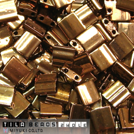 Tila Bead 5x5mm Metallic Dark Bronze TL0457