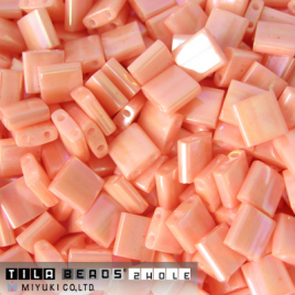 Tila Bead 5x5mm Opaque Salmon Luster TL0596
