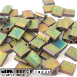 Tila Bead 5x5mm Matted Metallic Khaki Iris TL2035